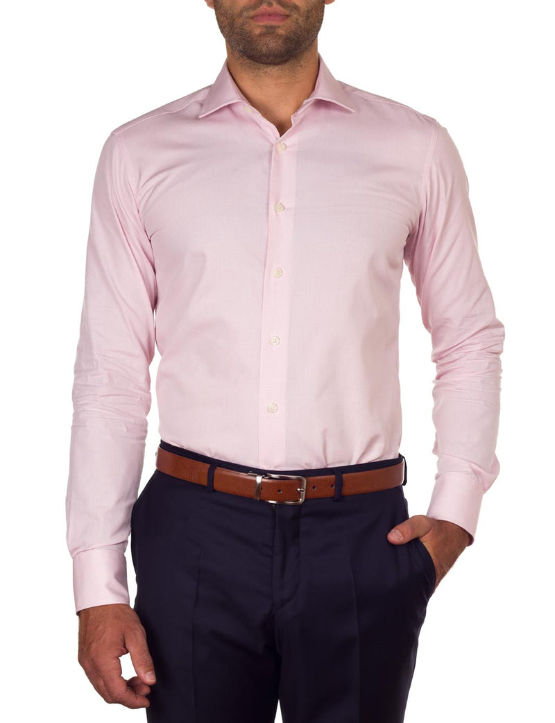 Pink Mini Check Business Shirt (Slim Fit)