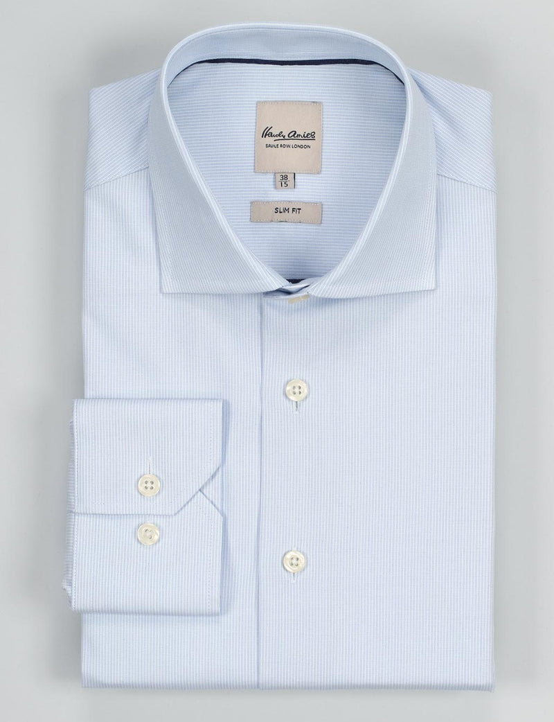 Blue Textured Stripe Business Shirt (Slim Fit)