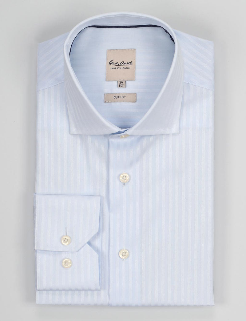 Blue Self Stripe Business Shirt (Slim Fit)
