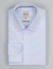 Blue Poplin Stripe Business Shirt (Contemporary Fit)