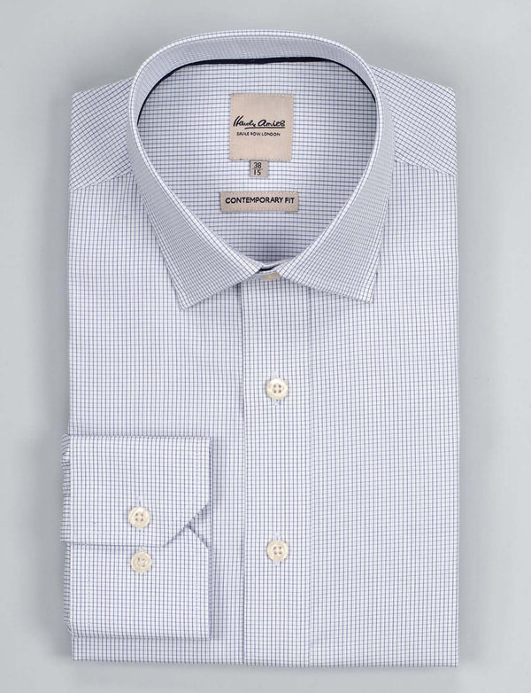 Navy Check Business Shirt (Contemporary Fit)