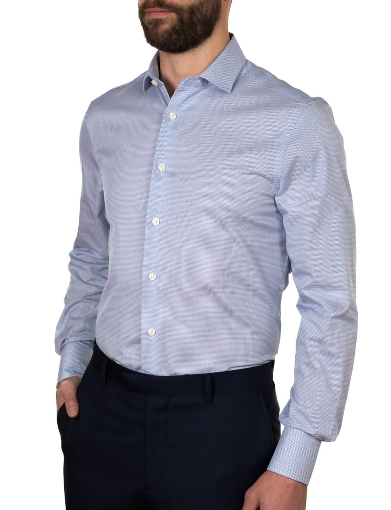 Blue Grid Slim Fit Shirt