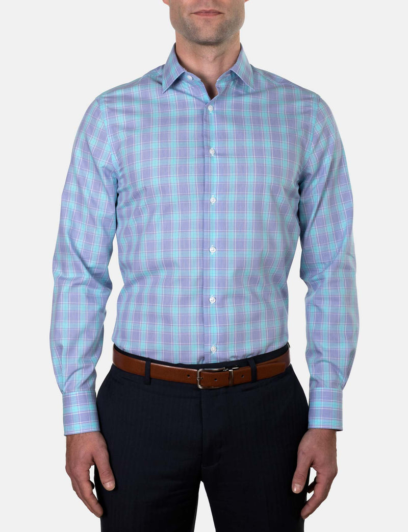 Mint Blue Check Business Shirt (Slim Fit)