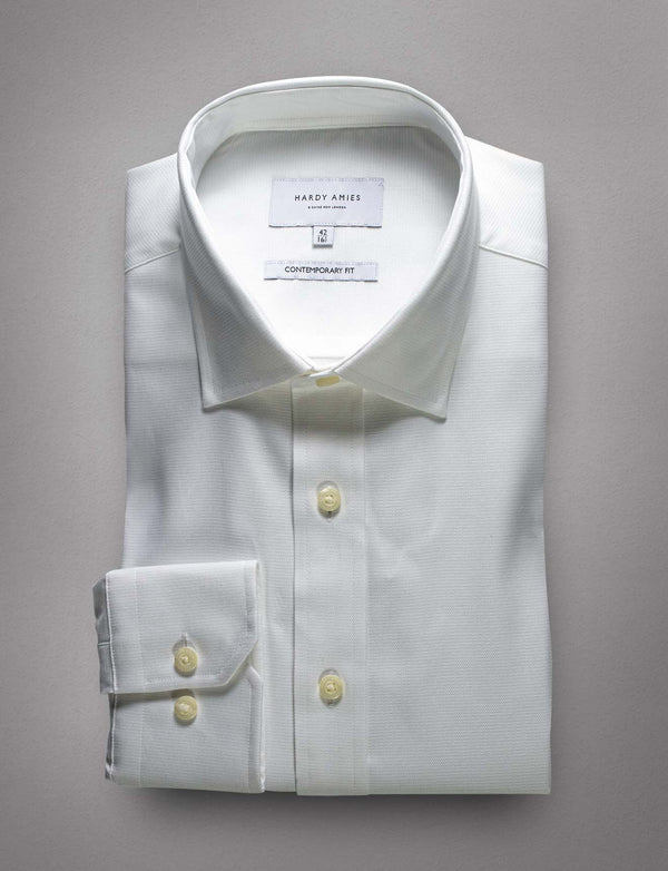 Textured White Business Shirt