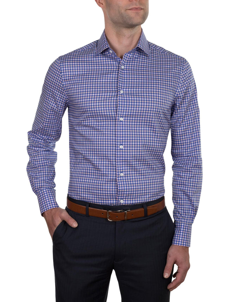 Cobalt Check Business Shirt (Slim Fit)