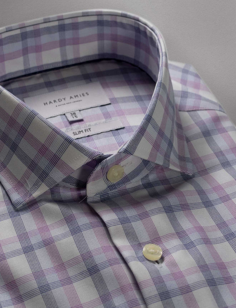 Lilac Check Business Shirt (Slim Fit)