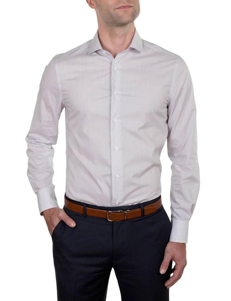 Grey Chambray Business Shirt (Slim Fit)