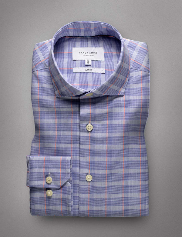 Striped Check Business Shirt (Slim Fit)