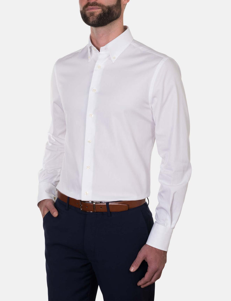 White Oxford Weave Business Shirt (Slim Fit)