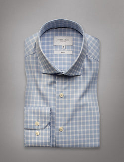 Sky Blue Check Business Shirt (Slim Fit)
