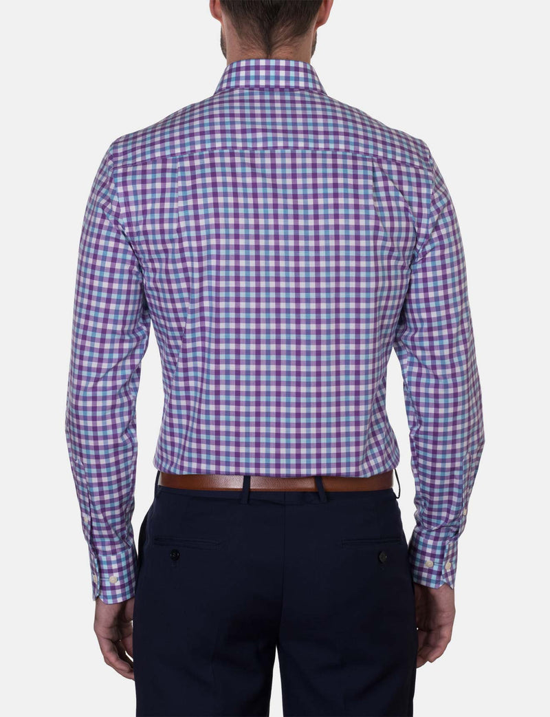 Plum Check Business Shirt (Slim Fit)