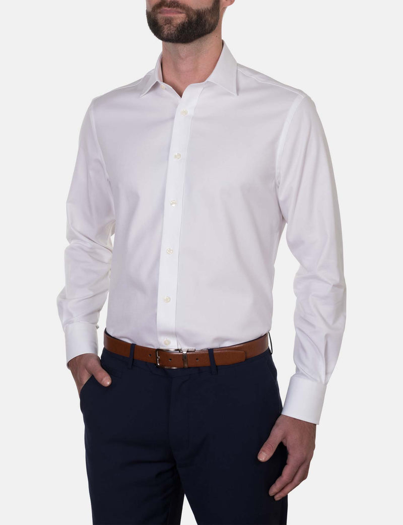 White Micro Weave Business Shirt (Contemporary Fit)