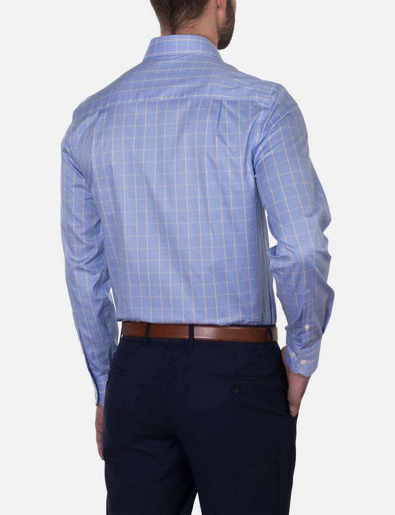 Yellow Check Business Shirt (Slim Fit)