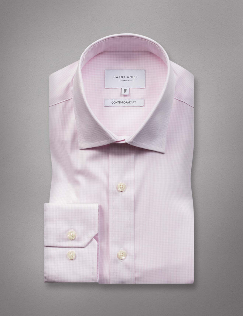 Pink Fine Check Business Shirt (Contemporary Fit)