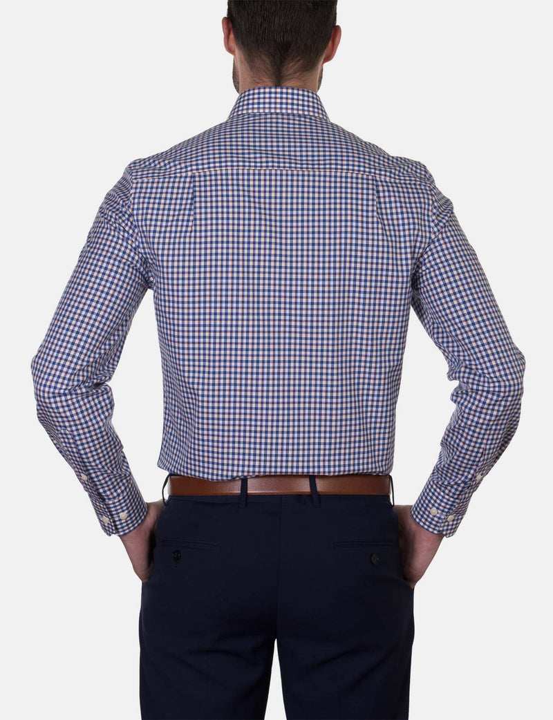 Orange Check Business Shirt (Slim Fit)