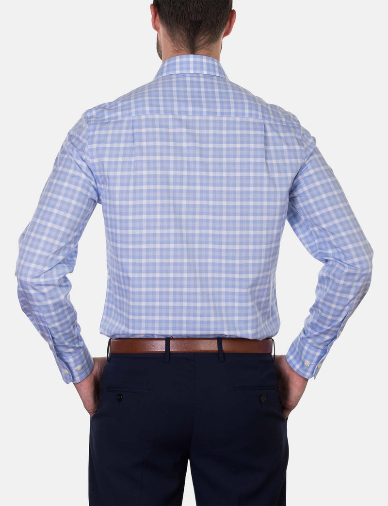 Classic Light Blue Check Business Shirt (Slim Fit)