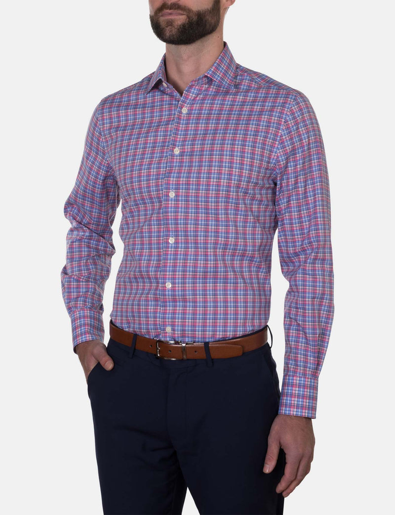 Red Modern Check Business Shirt (Slim Fit)