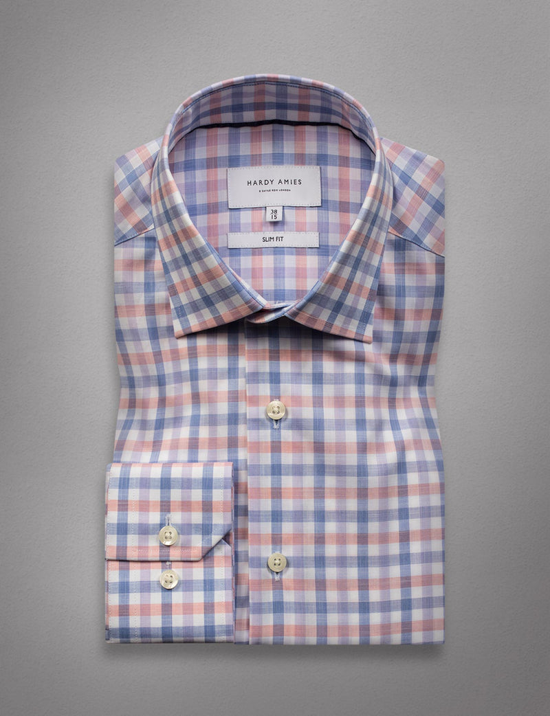 Coral Check Business Shirt (Slim Fit)