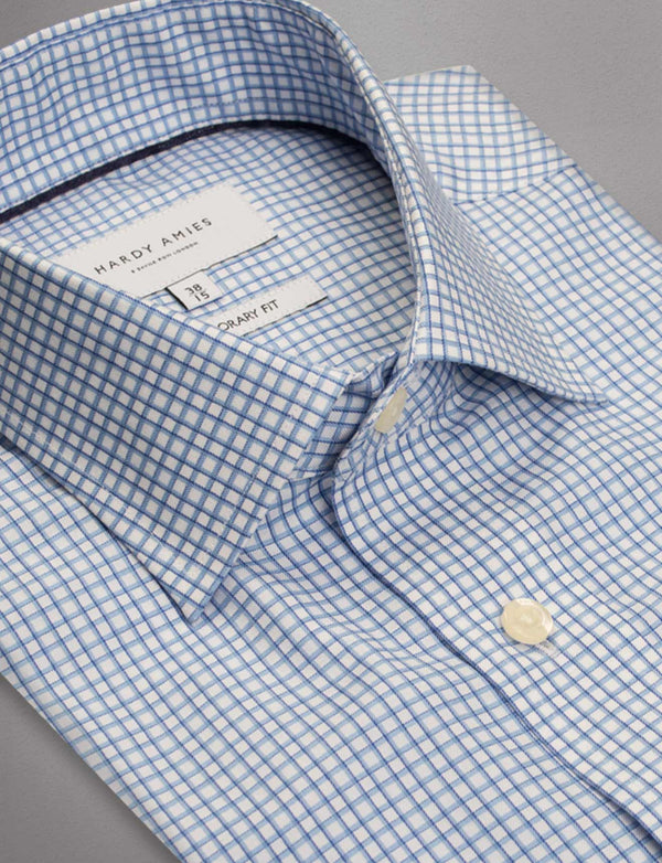Classic Blue Check Business Shirt (Contemporary Fit)