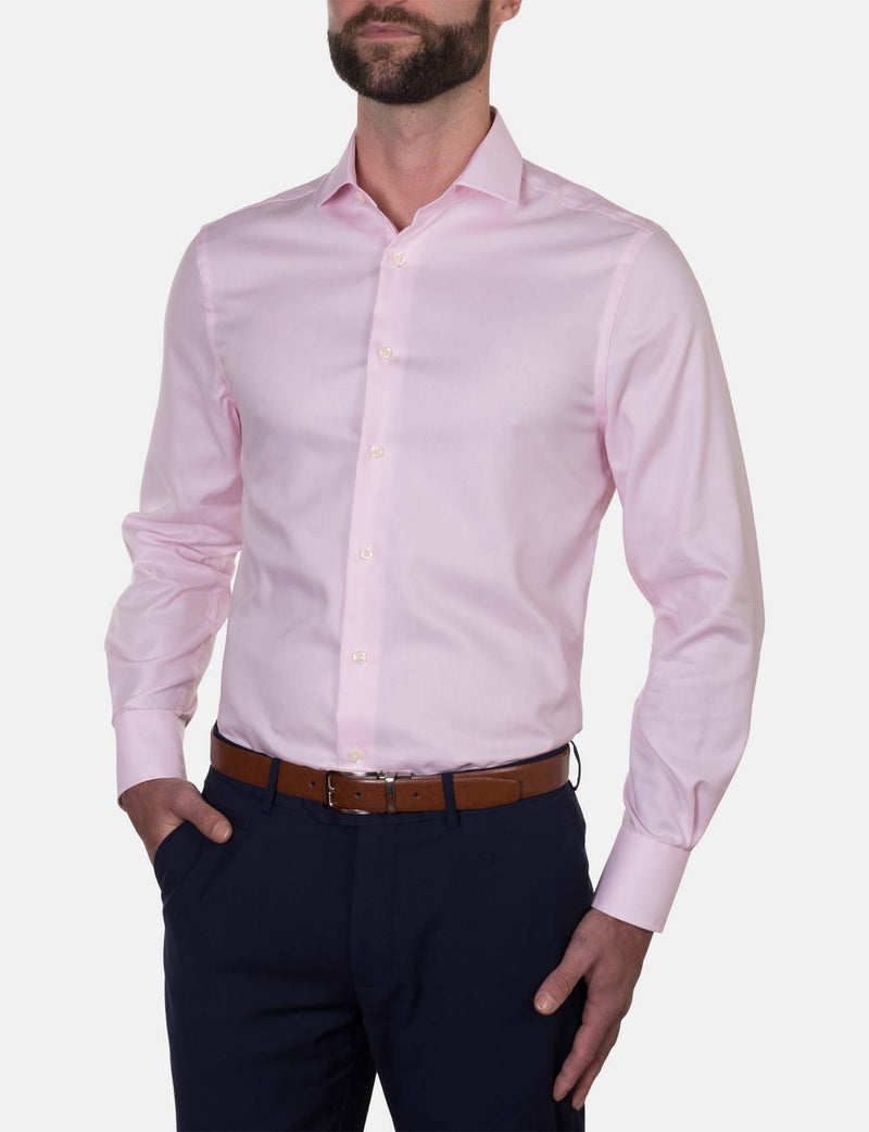 Pink Micro Grid Business Shirt (Slim Fit)