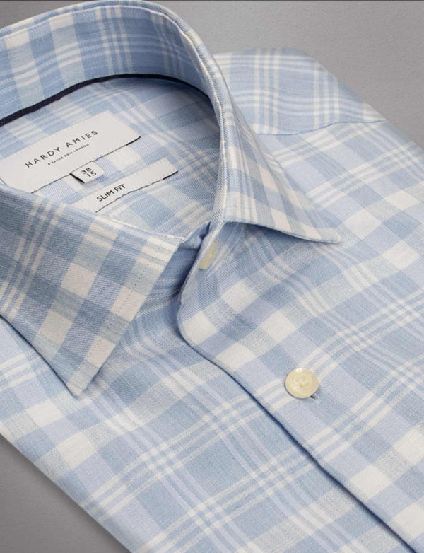 Light Blue Check Business Shirt (Slim Fit)