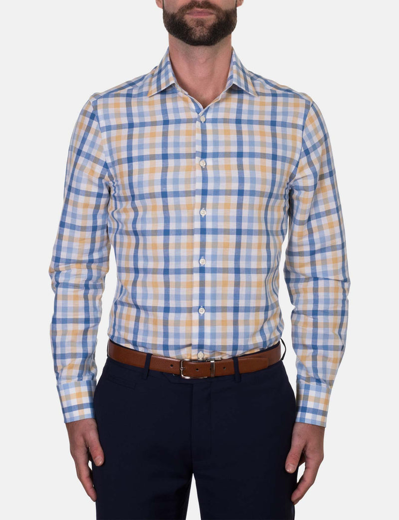 Saffron Check Business Shirt (Slim Fit)