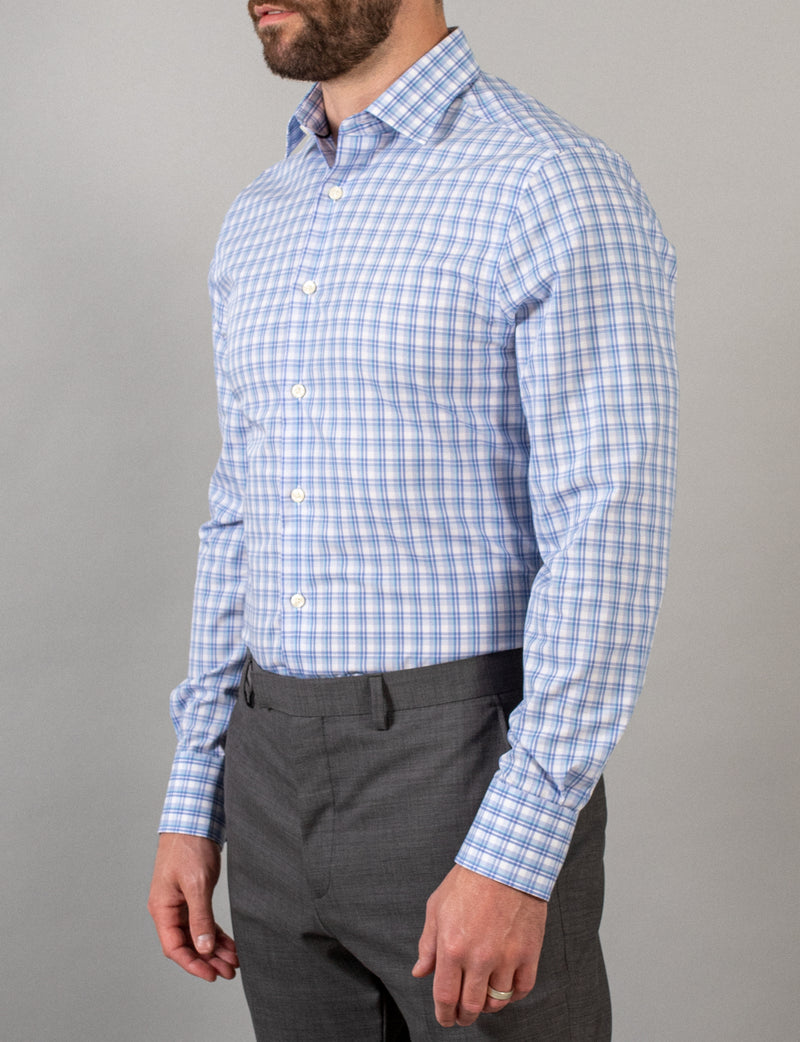 Bold Aqua Check Business Shirt (Slim Fit)