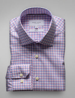 Red Check Business Shirt (Slim Fit)