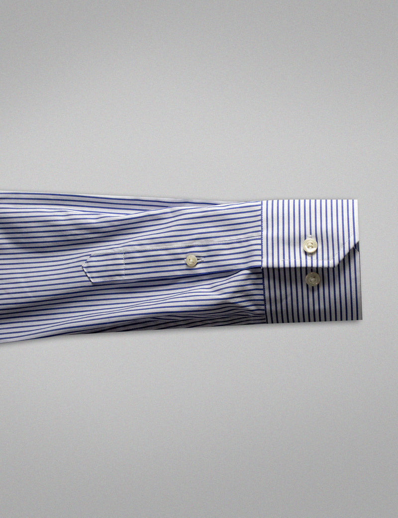 Navy Stripe Business Shirt (Slim Fit)