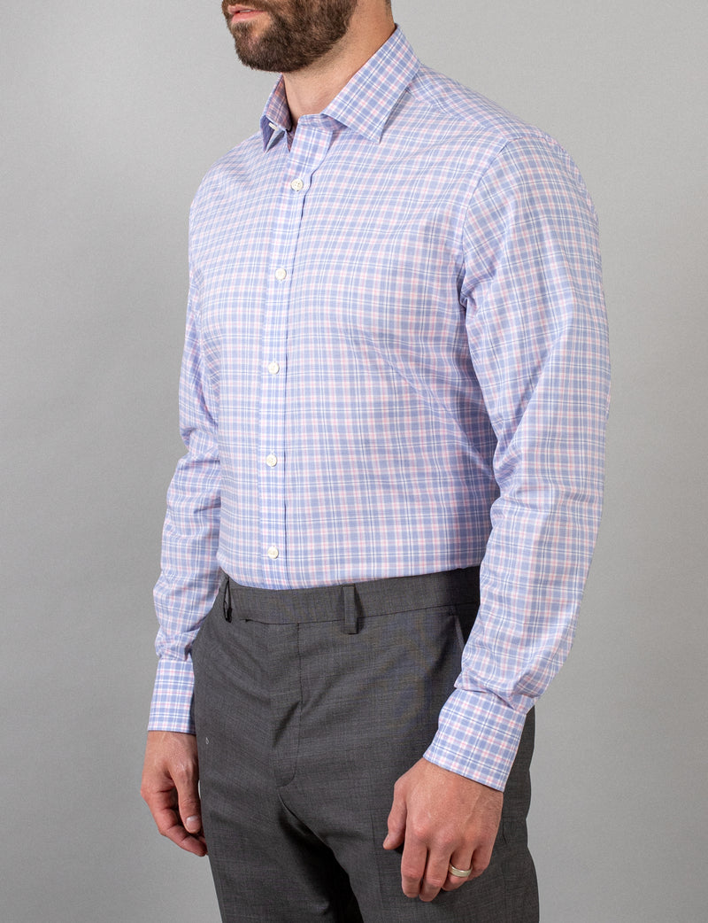 Pink and Blue Check Business Shirt (Contemporary Fit)