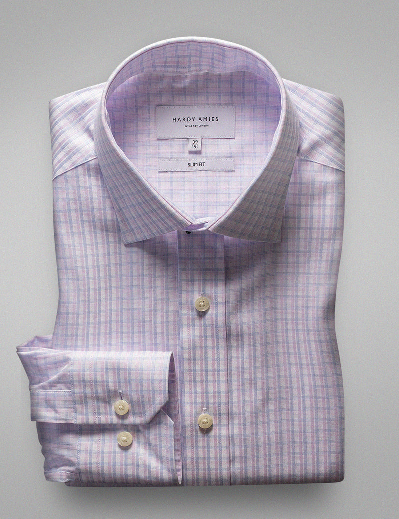 Soft Pink Check Business Shirt (Slim Fit)