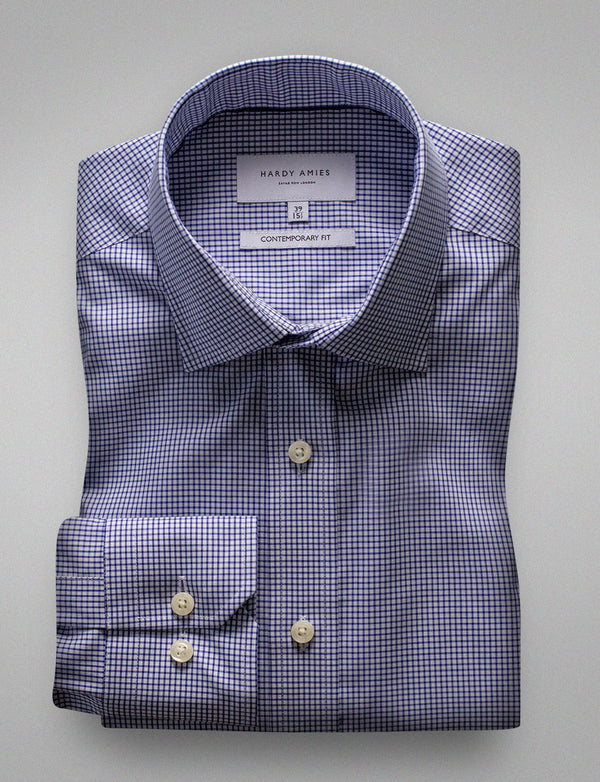 Navy Gingham Check Business Shirt (Contemporary Fit)