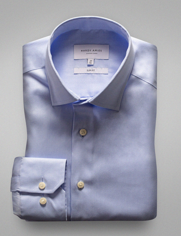 Blue Herringbone Business Shirt (Slim Fit)