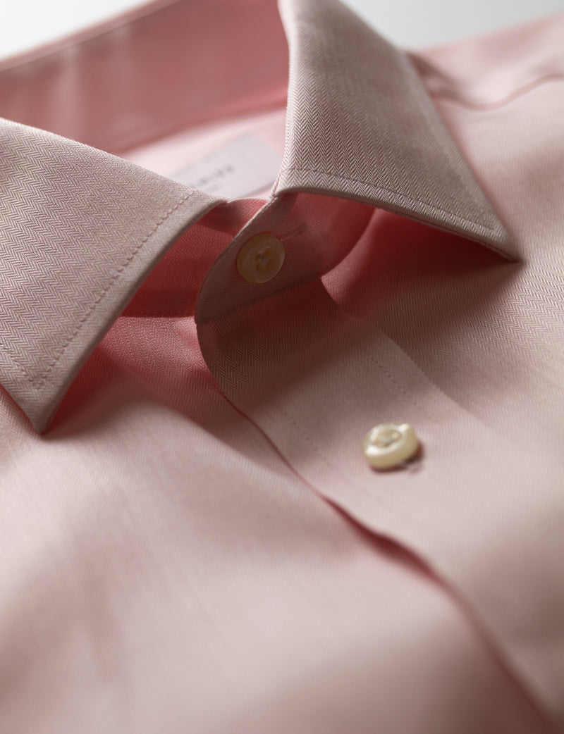 Pink Herringbone Business Shirt (Contemporary Fit)
