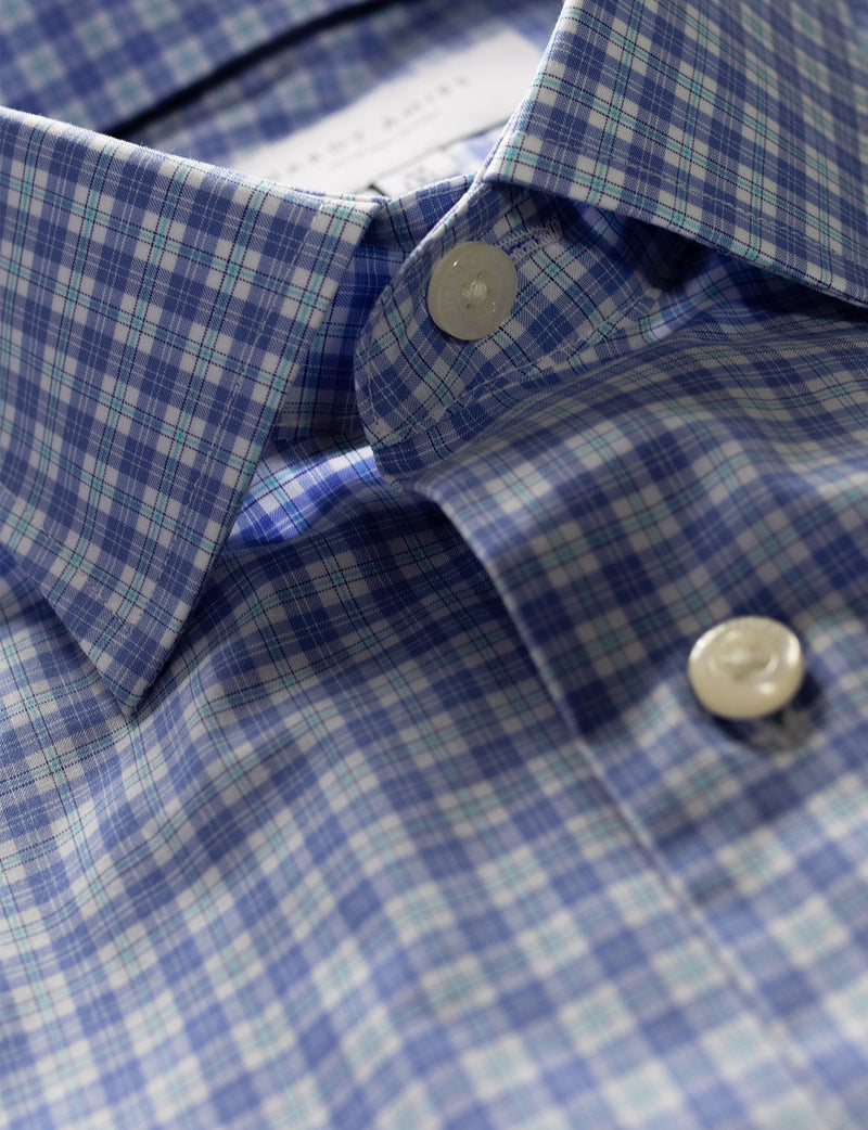 Mint and Blue Check Business Shirt (Slim Fit)