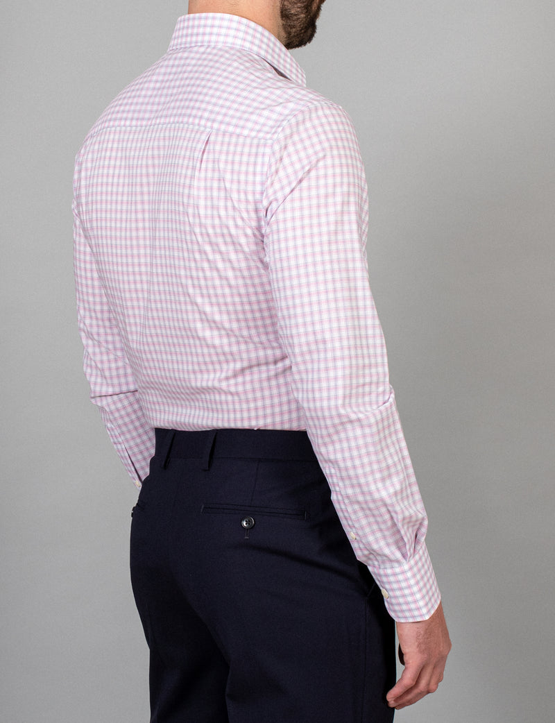 Pink Check Business Shirt (Slim Fit)