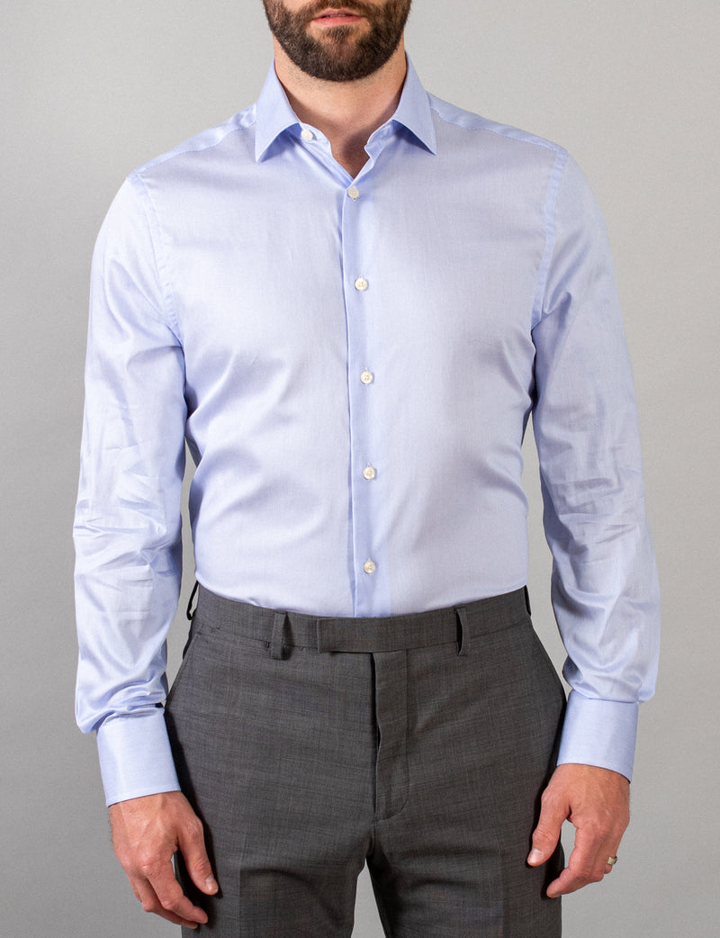 Fine Blue Stripe Business Shirt (Slim Fit)
