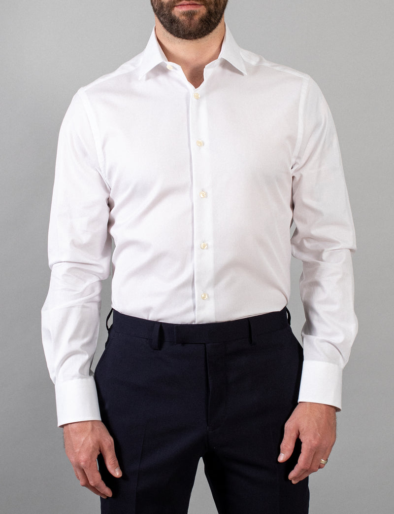 White Mini Stripe Business Shirt (Slim Fit)
