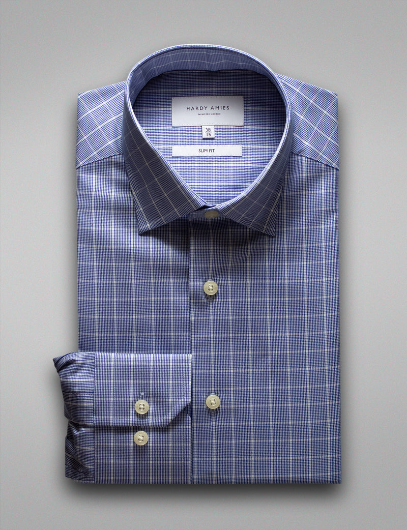 Modern Navy Check Business Shirt (Slim Fit)