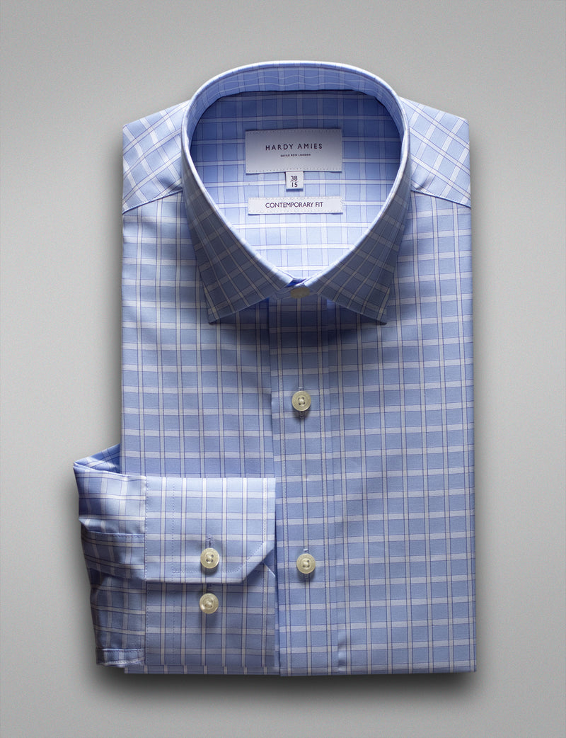 Wide Blue Check Business Shirt (Contemporary Fit)