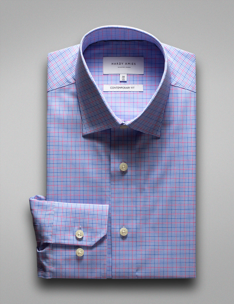 Blue/Red Check Business Shirt (Contemporary Fit)