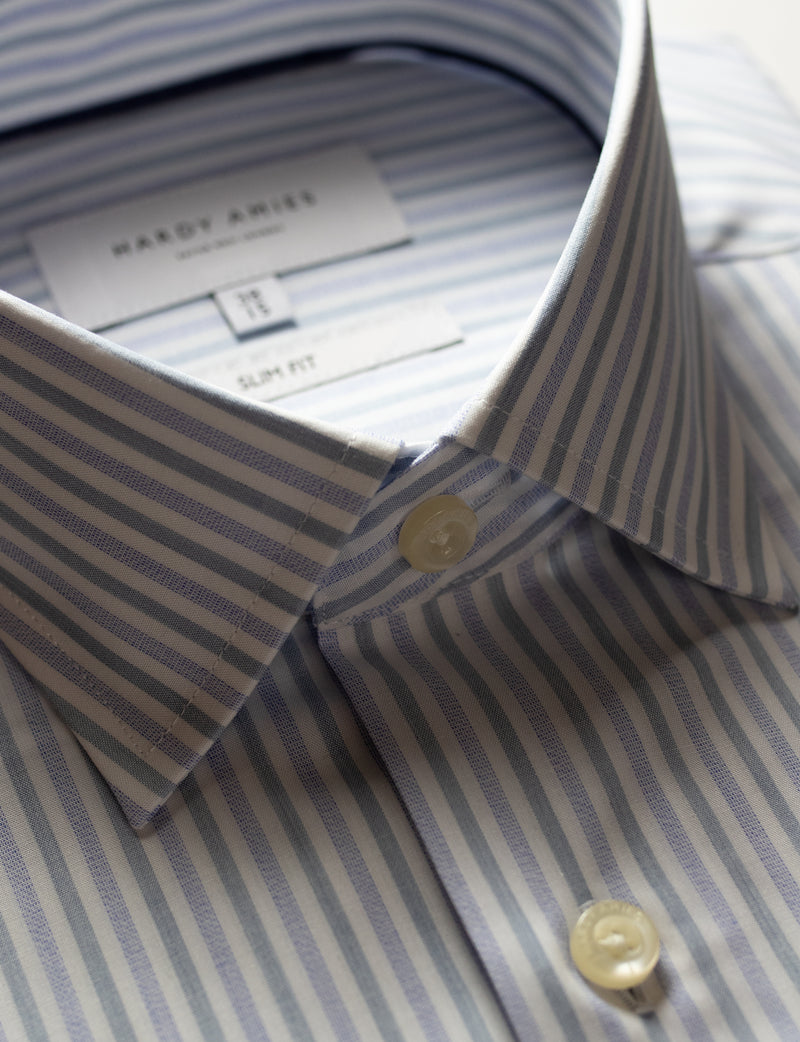 Lilac Stripe Business Shirt (Slim Fit)