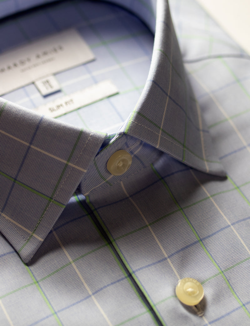 Green Striped Check Business Shirt (Slim Fit)