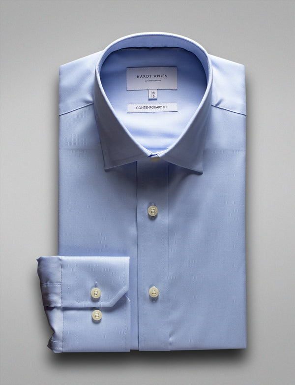 Soft Blue Textured Business Shirt (Contemporary Fit)