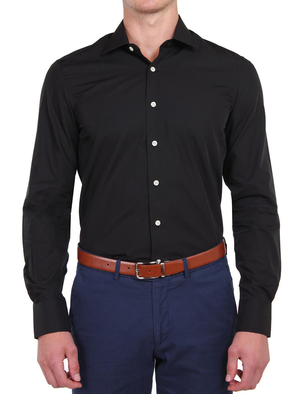 Black Poplin Business Shirt (Slim Fit)