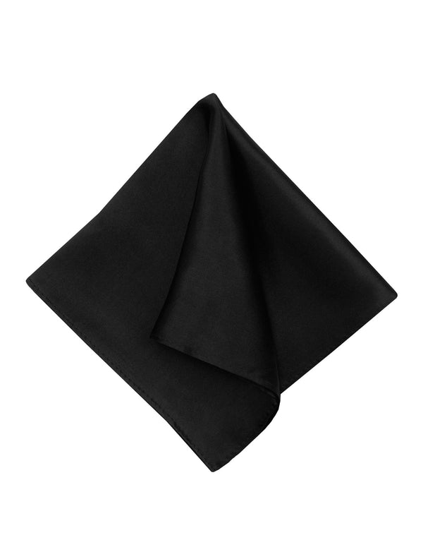 Black Plain Silk Pocket Square