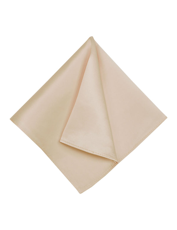 Champagne Plain Silk Pocket Square