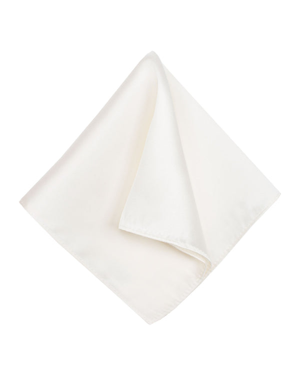 Ivory Plain Silk Pocket Square