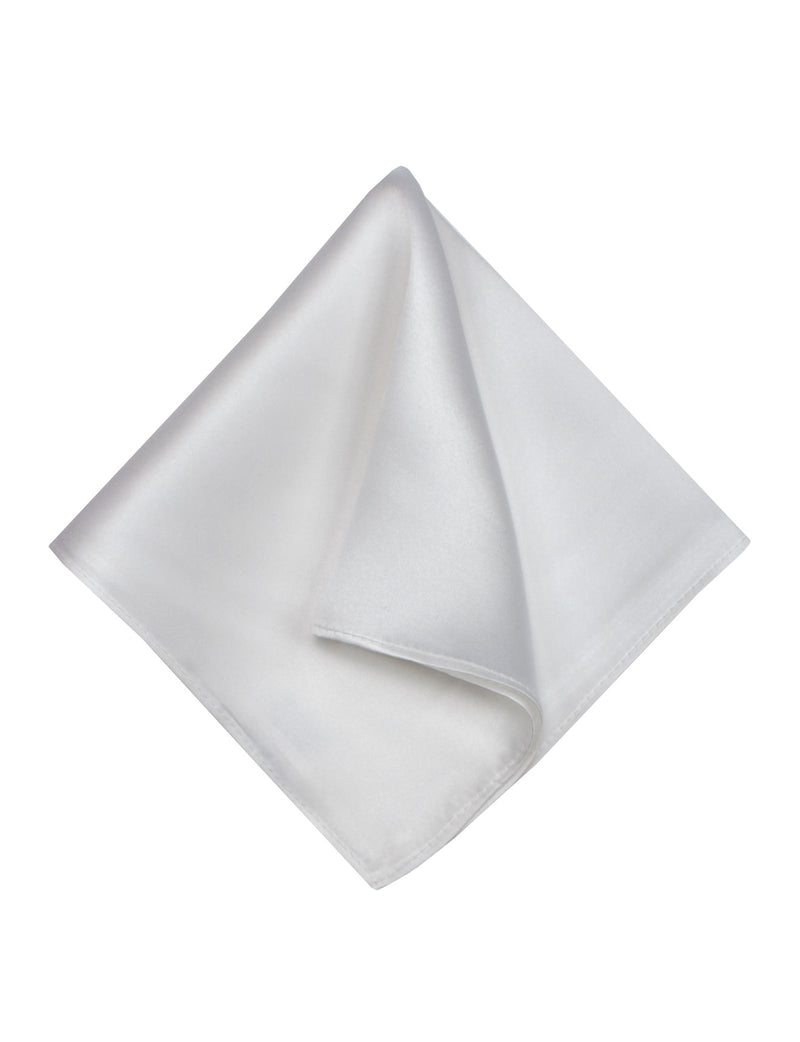 Silver Plain Silk Pocket Square