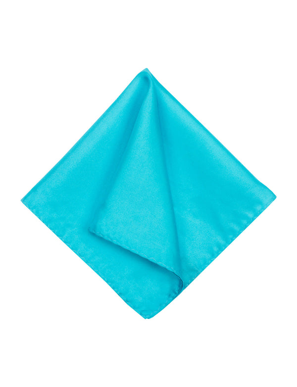 Teal Blue Plain Silk Pocket Square